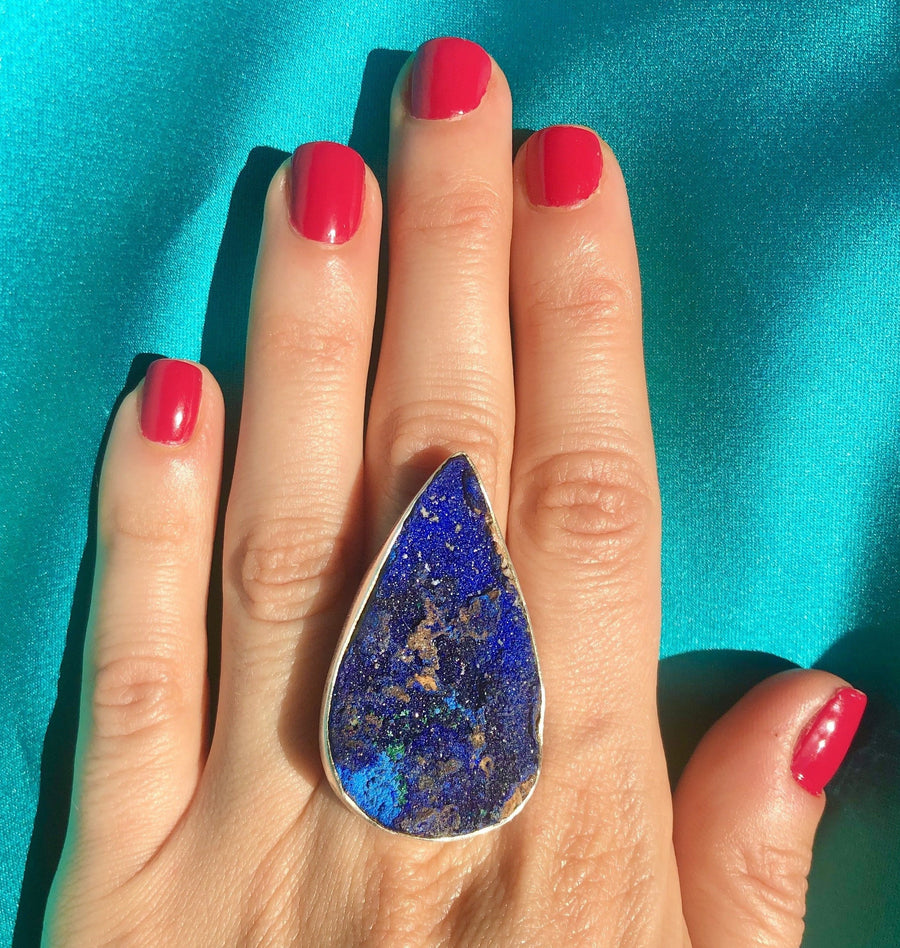 Azurite Druzy Ring - Large Teardrop