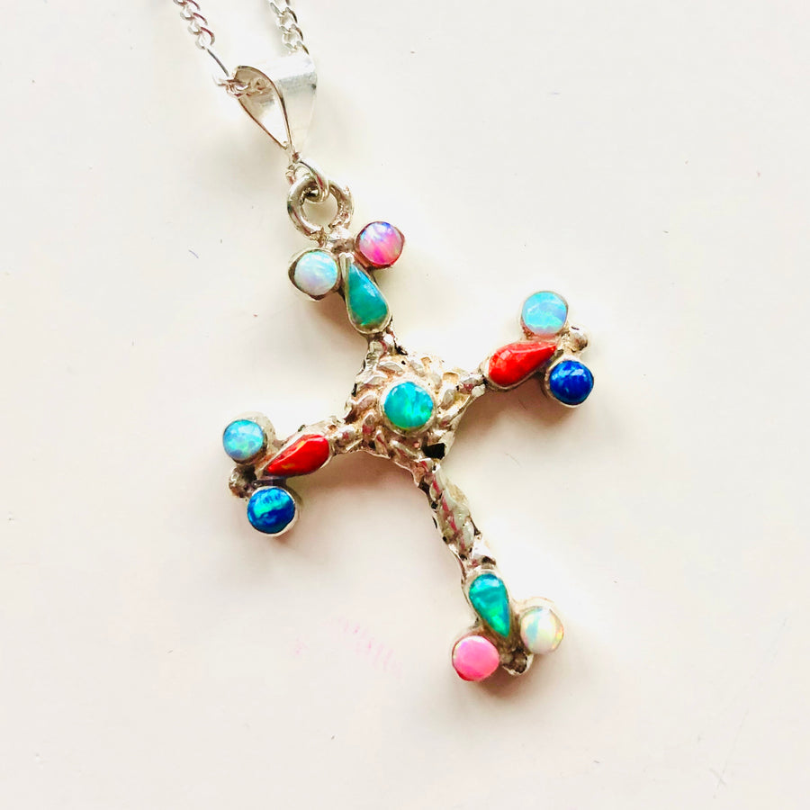 Navajo Ornate Cross Necklace - Small