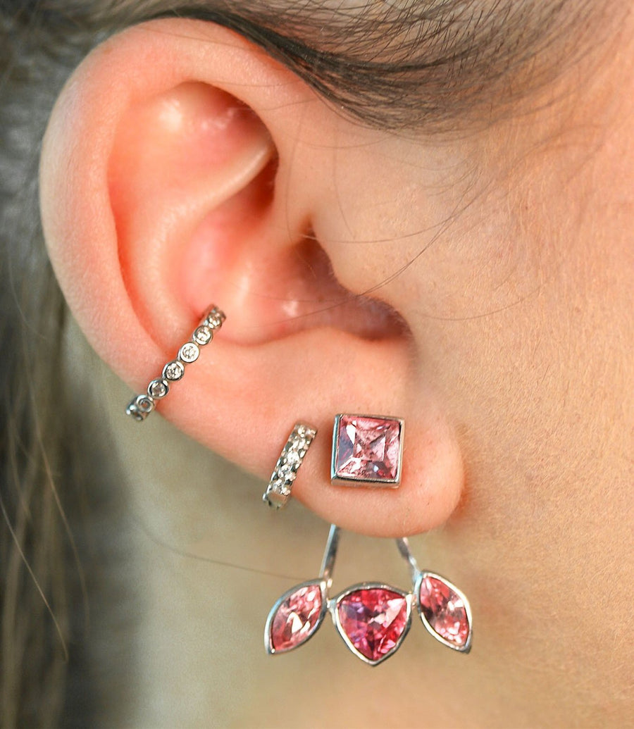 Pink Crystal Ear Jackets