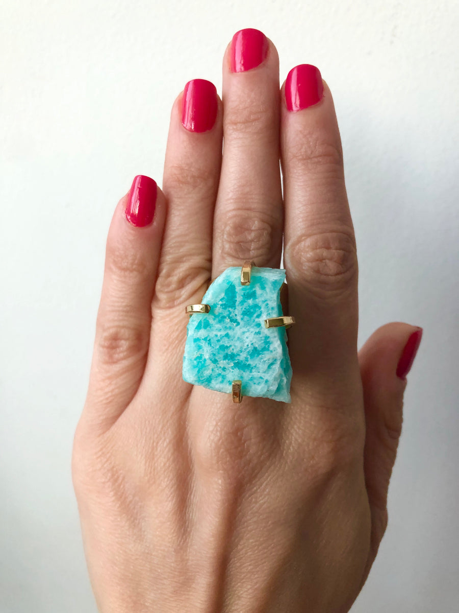 Raw Aquamarine Cuff Ring