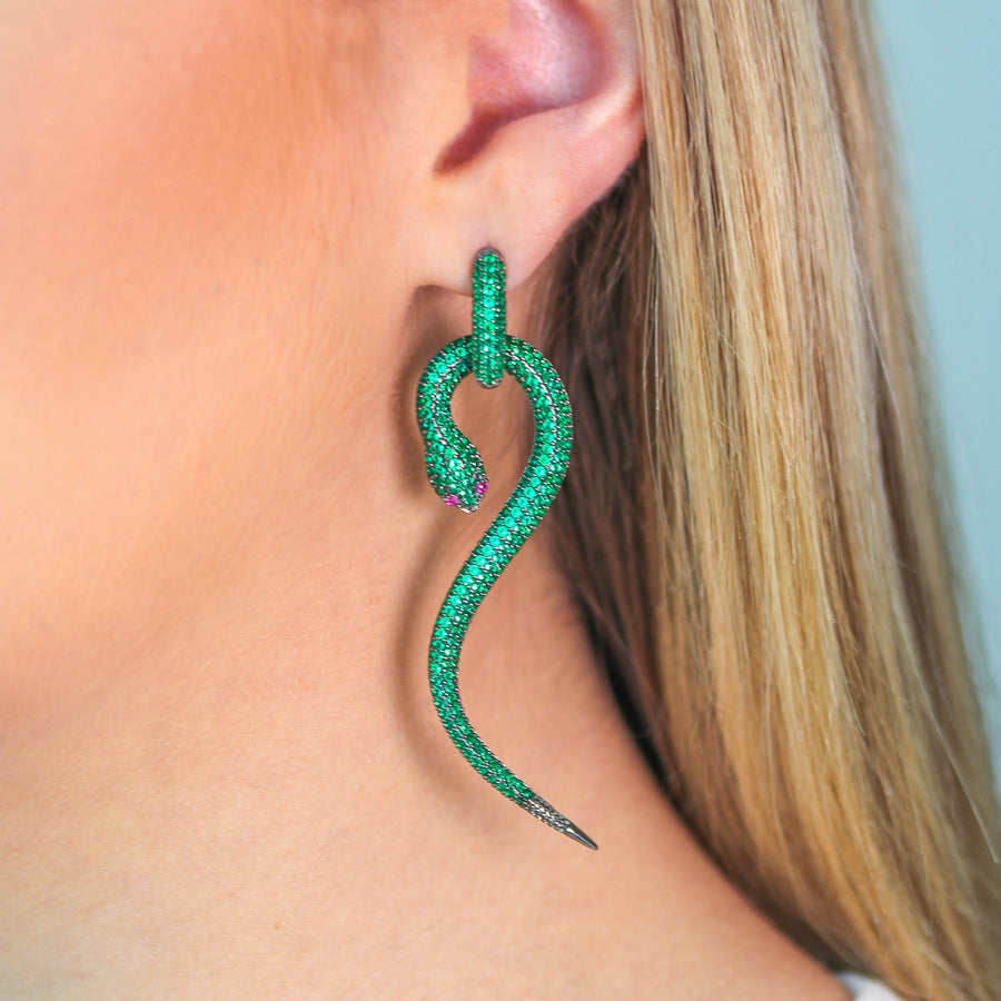 Glamorous Snake Earrings - Large