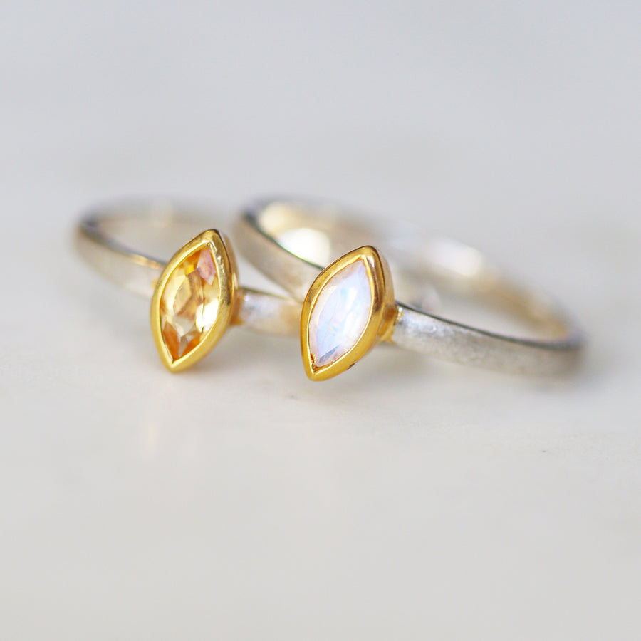 Mixed Metal Gemstone Ring - Citrine & Moonstone