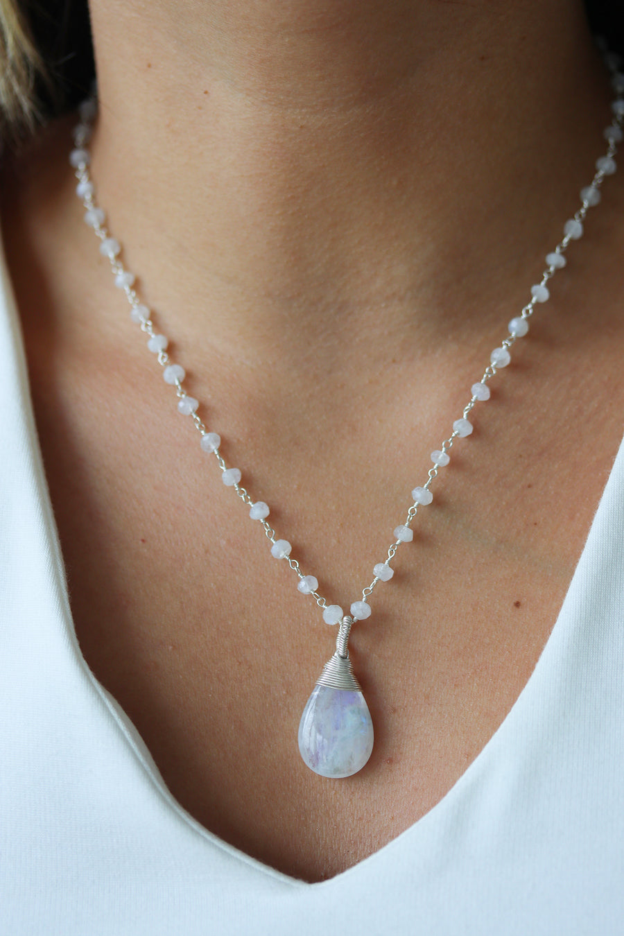 Moonstone Wrapped Pendant Necklace