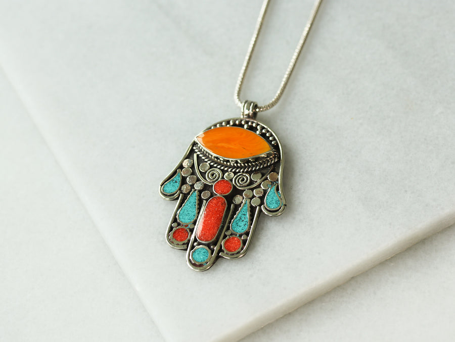 Vintage Multi-Stone Hamsa Necklace - Orange Oval
