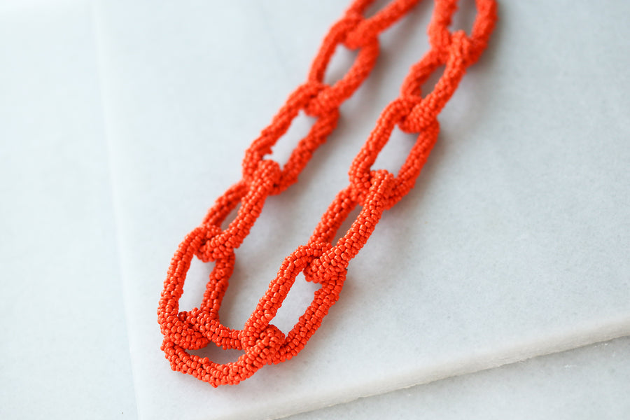 Seed Beaded Chainlink Necklaces