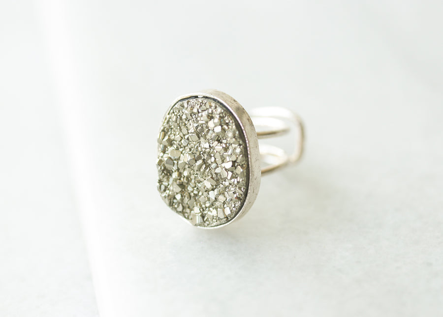 Silver Pyrite Adjustable Wire Ring