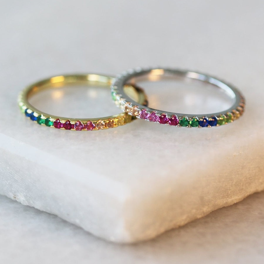 Thin Rainbow Infinity Stacker Ring