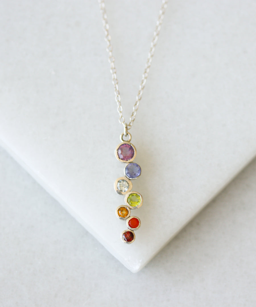 Rainbow Gemstone Cascade Necklace