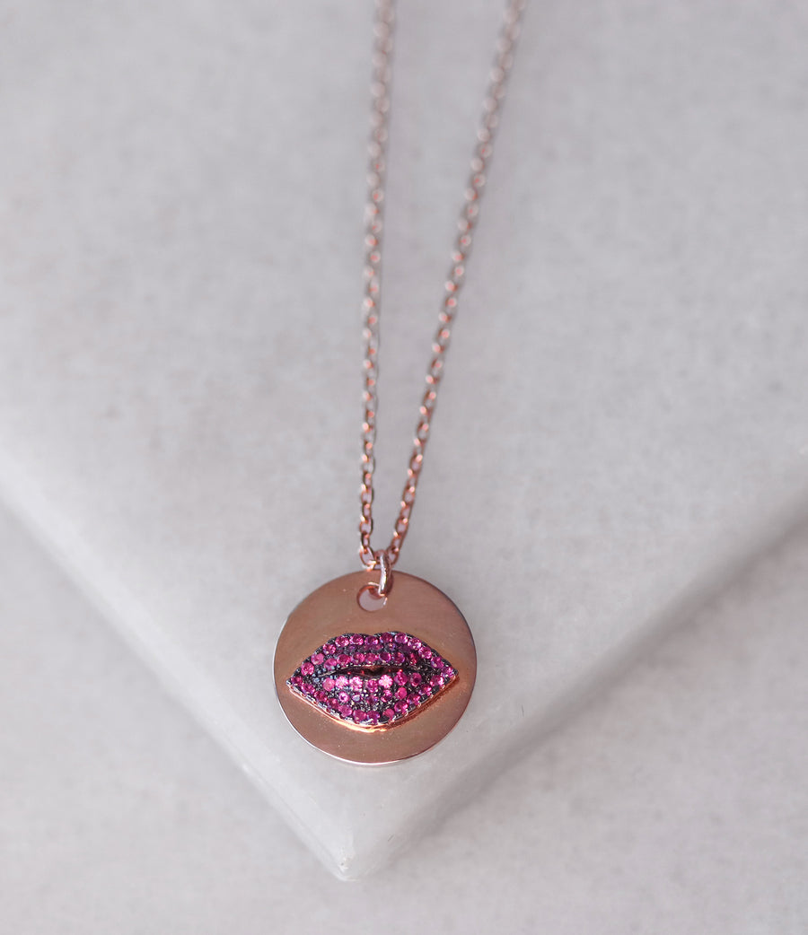 Coin Crystal Lip Necklace