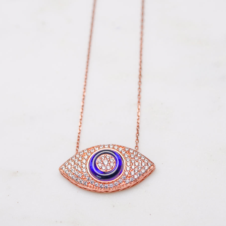 Crystal Encrusted Evil Eye Necklace - Rose