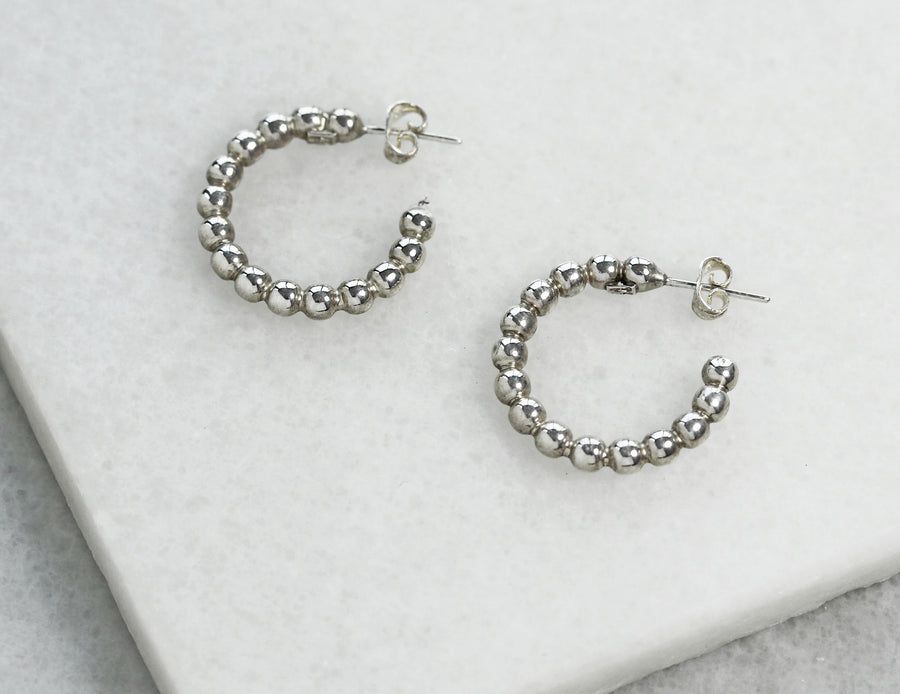 Small Silver Ball Hoops