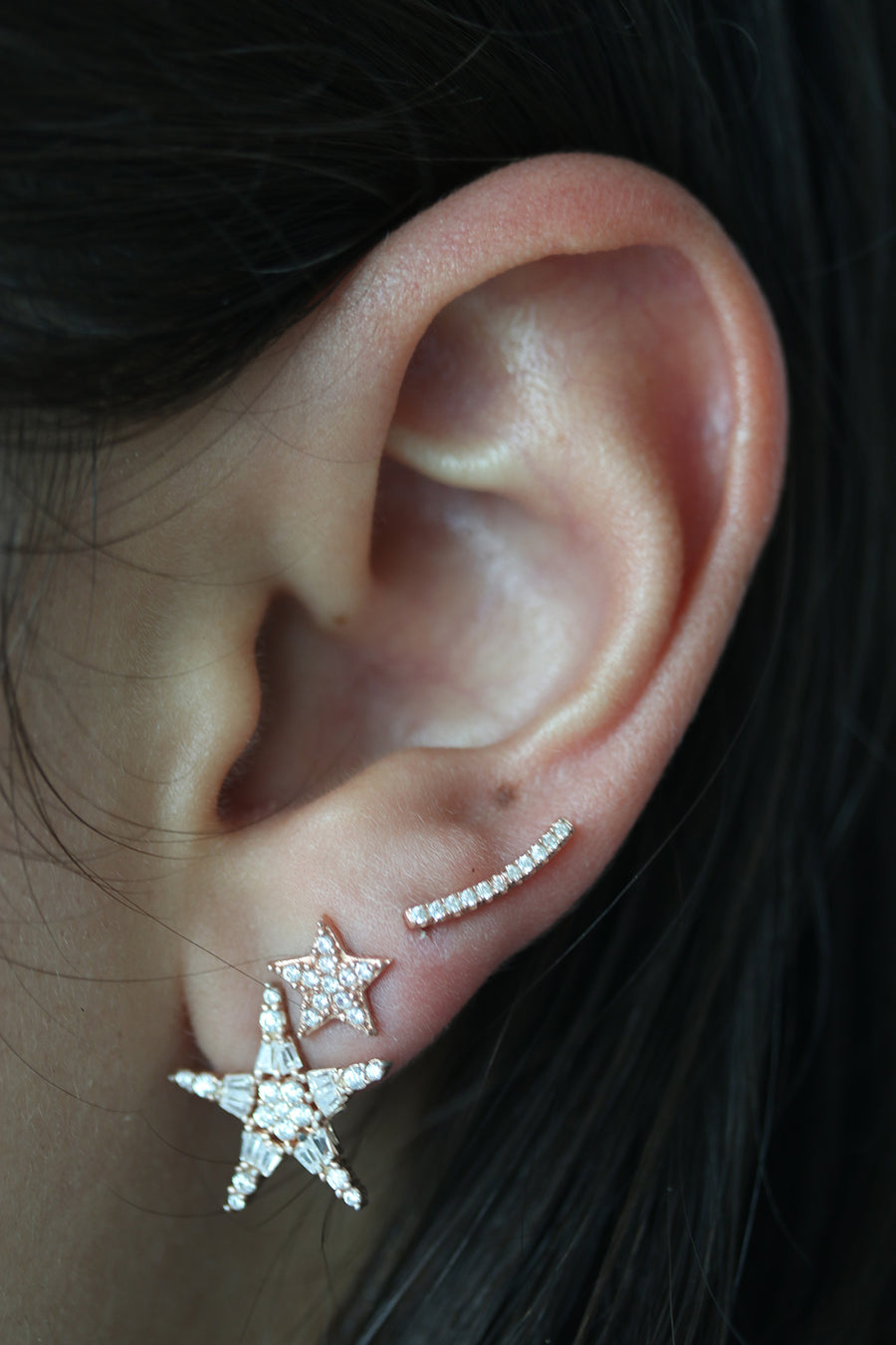 Extra Tiny Crystal Bar Ear Climbers