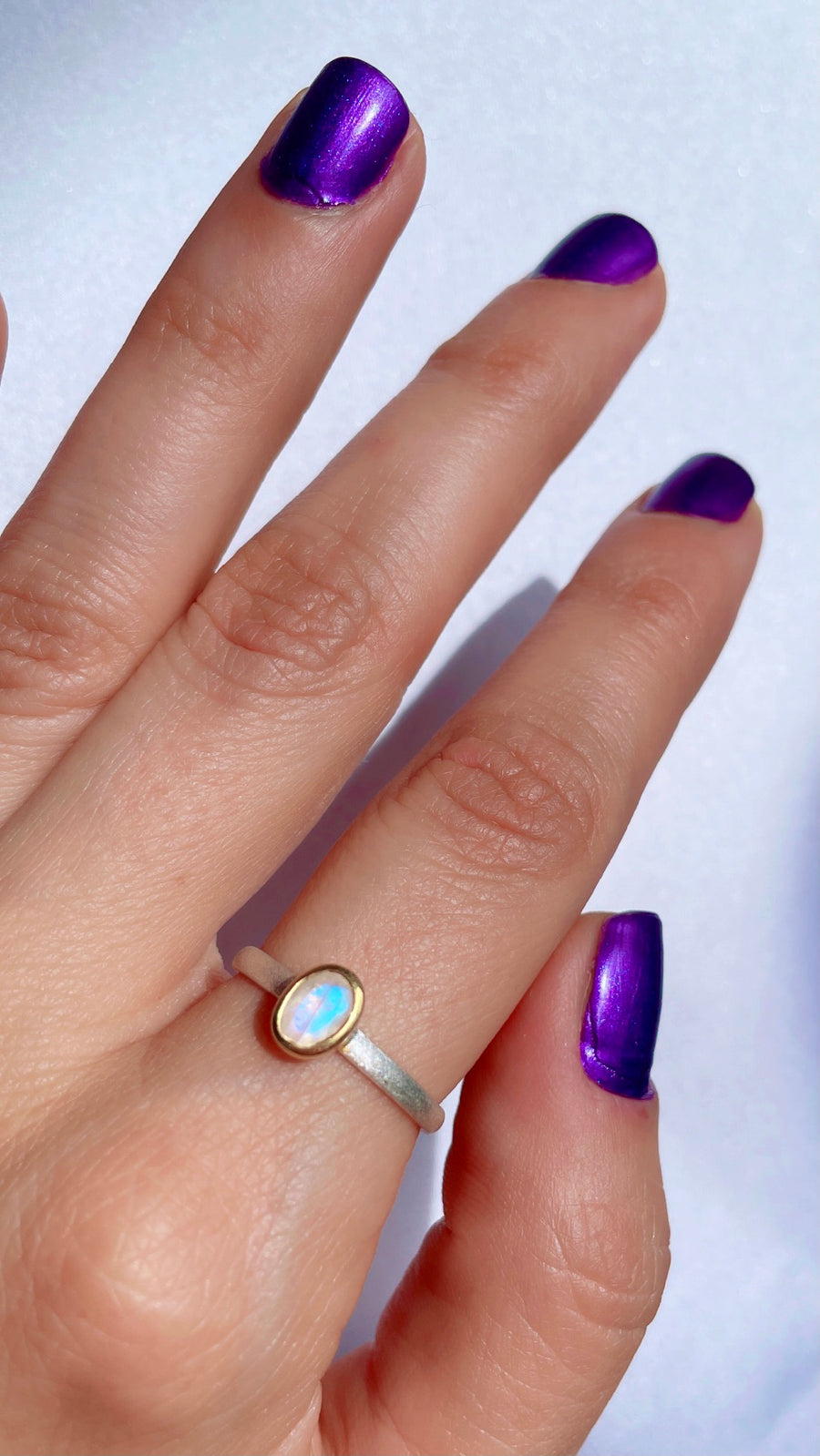 Mixed Metal Gemstone Ring - Moonstone