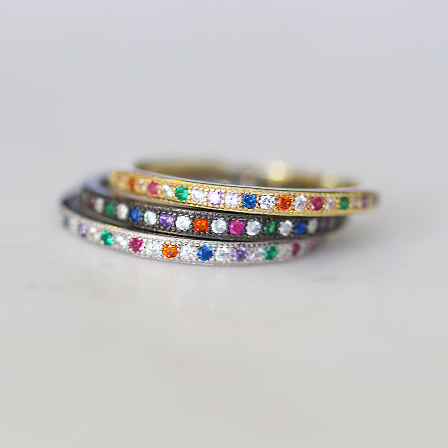Rainbow Pave Stacker Ring