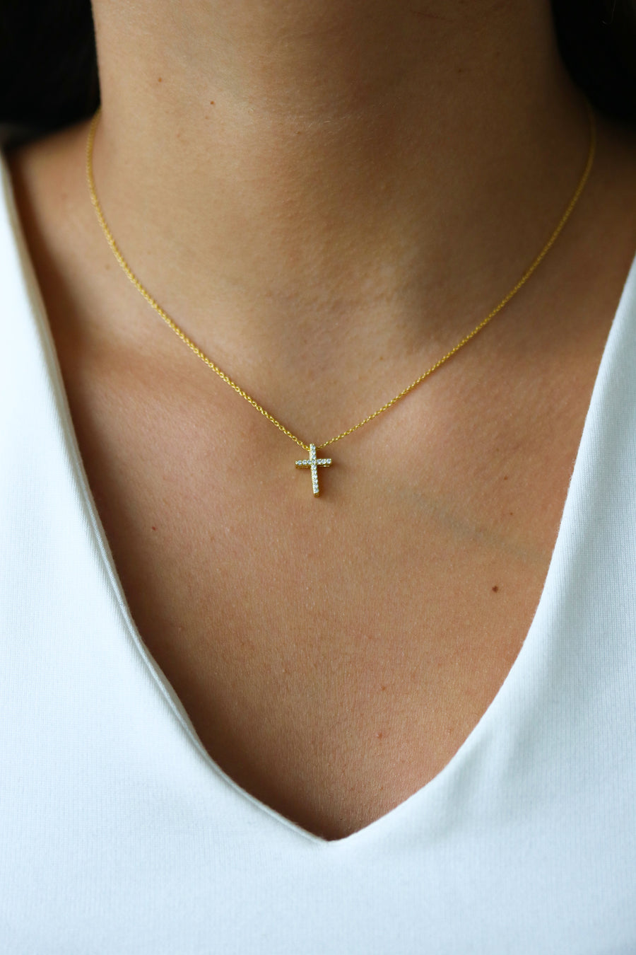 Tiny Crystal Cross Necklace