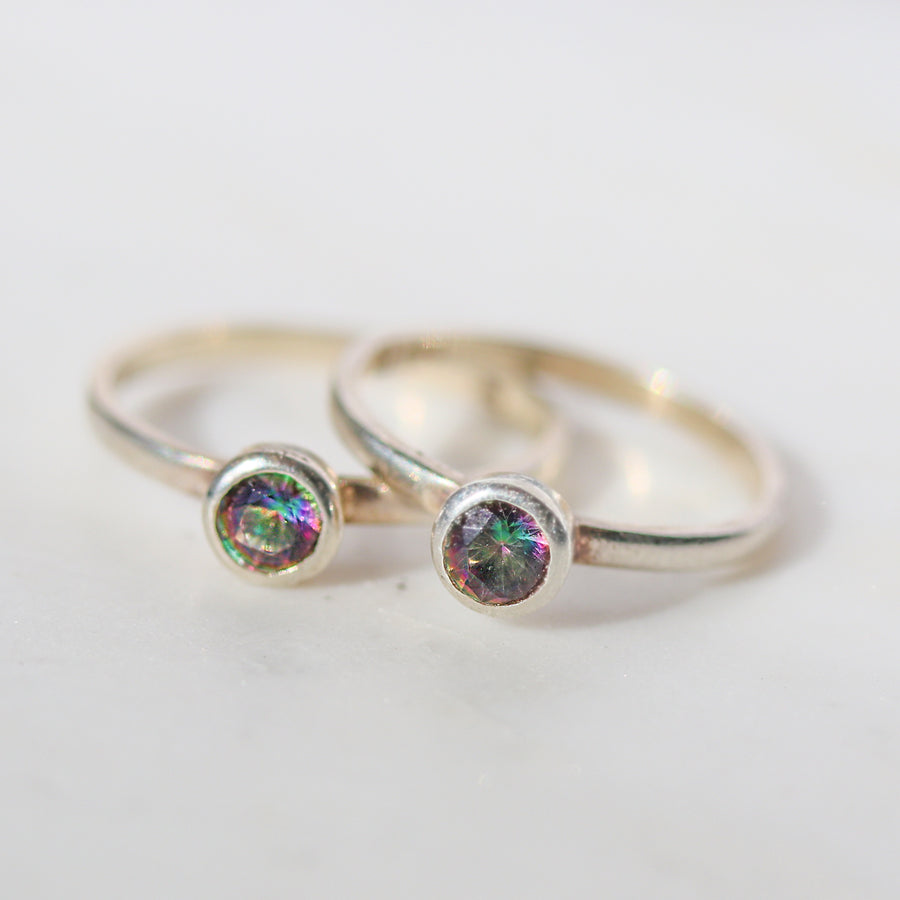 Tiny Mystic Topaz Ring - SZ 6