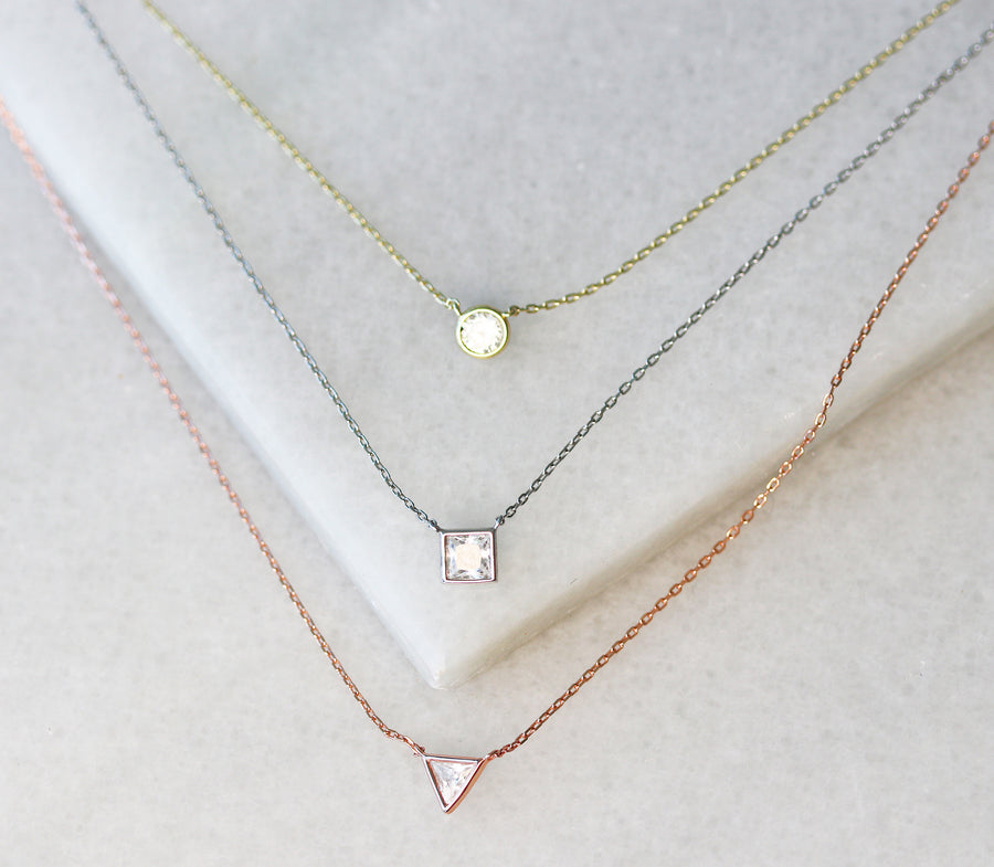 Triple layer crystal necklace