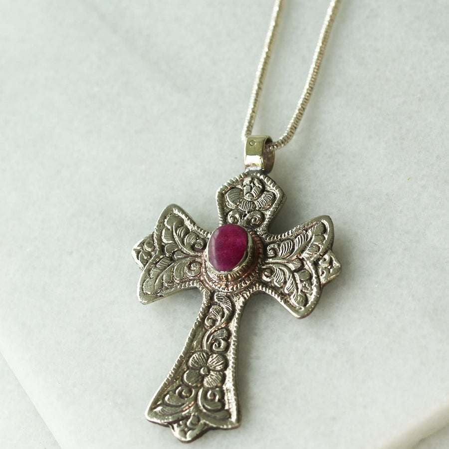 Vintage Ruby Cross Necklace
