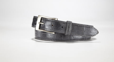 "American Alligator Belt - Glossy 1 1/4"" - 32mm (Grey)"