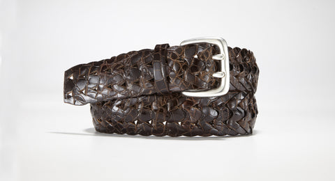"American Alligator Braided Belt 1 3/8"" - 35mm (Brown)"
