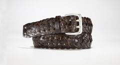 "American Alligator Braided Belt 1 3/8"" - 35mm (Cognac)"