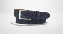 "Freshwater Crocodile Suede Belt 1 3/8"" - 35mm (Navy)"