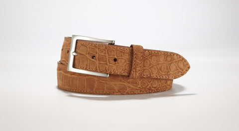 "Freshwater Crocodile Suede Belt 1 3/8"" - 35mm (Cognac)"