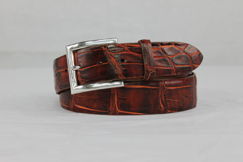 Hand Painted American Alligator Belt Volcano