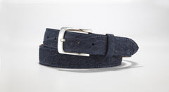 "Crocodile Suede Belt 1 3/8"" - 35mm (Navy Blue)"