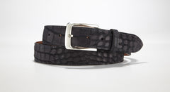 "Crocodile Suede Belt 1 3/8"" - 35mm (Brown)"