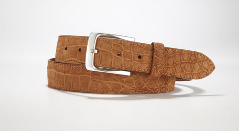 "Crocodile Suede Belt 1 3/8"" - 35mm (Tan)"