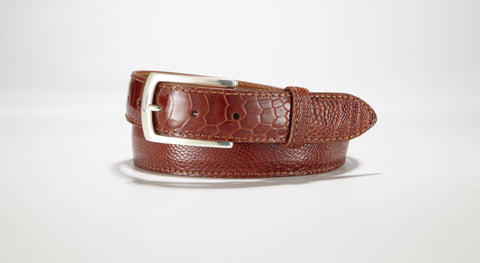 "Ostrich Leg Belt 1 1/4"" - 32mm (Cognac)"