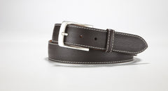 "Pebble Grain Leather 1 3/8"" - 35mm (Grey)"