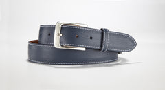 "Pebble Grain Leather 1 3/8"" - 35mm (Navy Blue)"