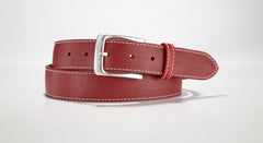 "Pebble Grain Leather 1 3/8"" - 35mm (Red)"
