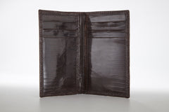 Lizard Vertical Credit Card Case - Brown