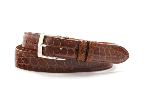 "American Alligator Belt - Glossy 1 1/4"" - 32mm (Cognac)"
