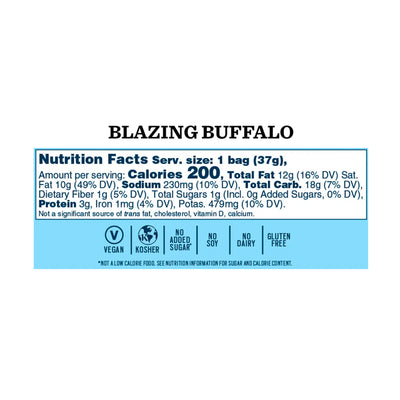 Blazing Buffalo 'Nana Chips: Single Serve 8-Pack - Bubba's Fine Foods Nutrition Facts