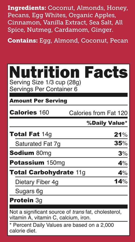 CLOSEOUT! Cinnful Apple UnGranola 6-Pack 6oz BEARDED BAGS - Bubba's Fine Foods Nutrition Facts