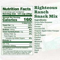 Nutrition Panel - Righteous Ranch Snack Mix
