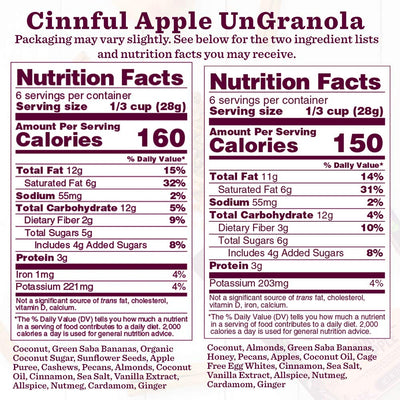 Nutrition Panel - Cinn-Ful Apple UnGranola