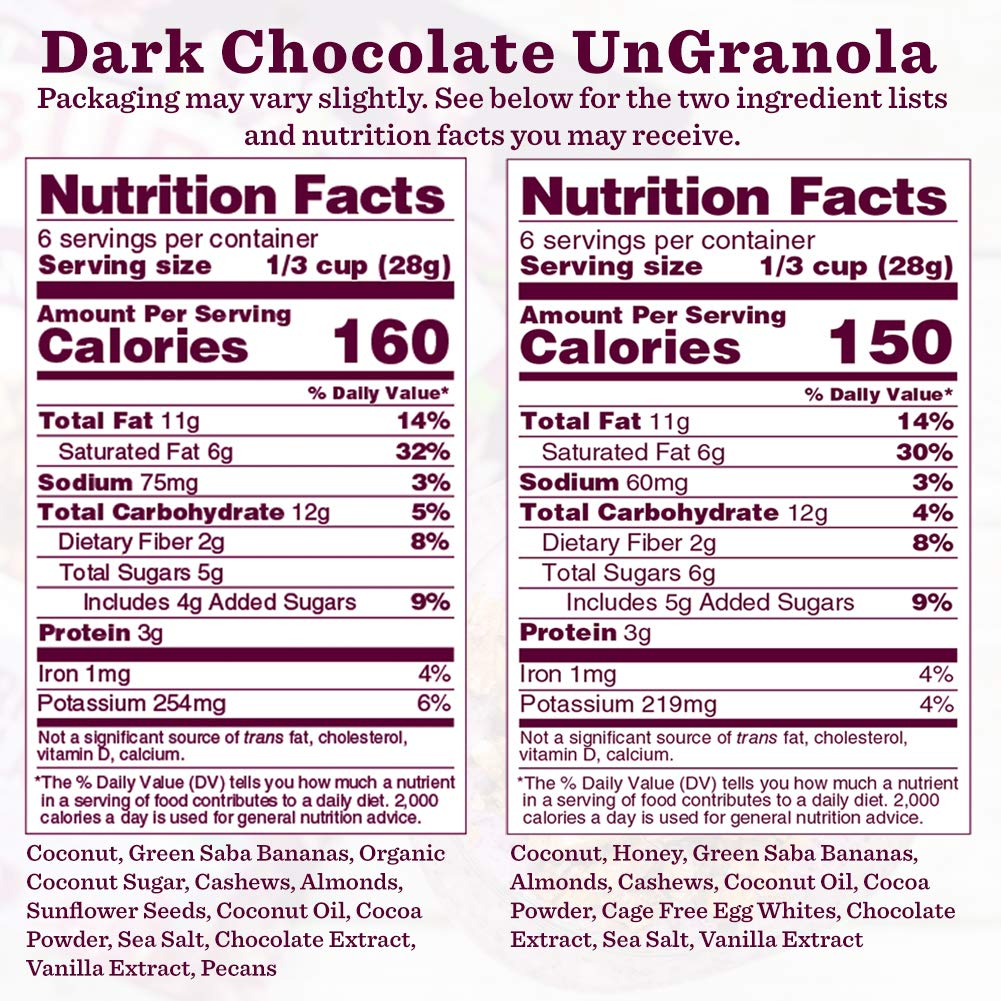 Nutrition Panel - Dark Chocolate with Sea Salt Paleo Granola