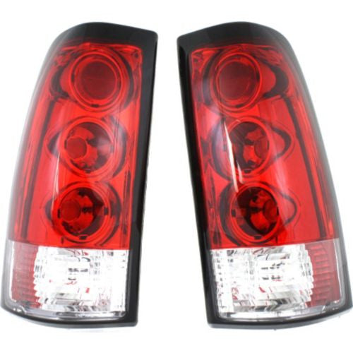 1999-2007 Chevy Silverado Tail Lamp,Clear & Red Lens,One Set