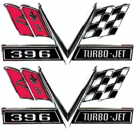 1967 - 1967 Chevy Camaro 396 Turbo-Jet Flag Fender Emblems (Sold as a Pair)