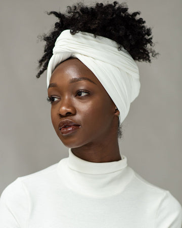 Natural White Ribbed Stretch Head Wrap