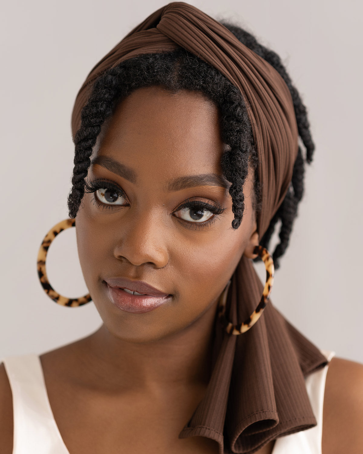 Chestnut Ribbed Stretch Head Wrap