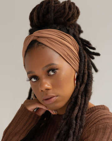 Fawn Ribbed Turbanette