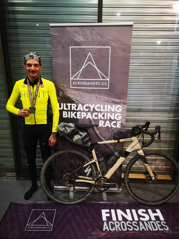 Fabian Burri with a medal around his neck for the Ultracycling bikepacking race