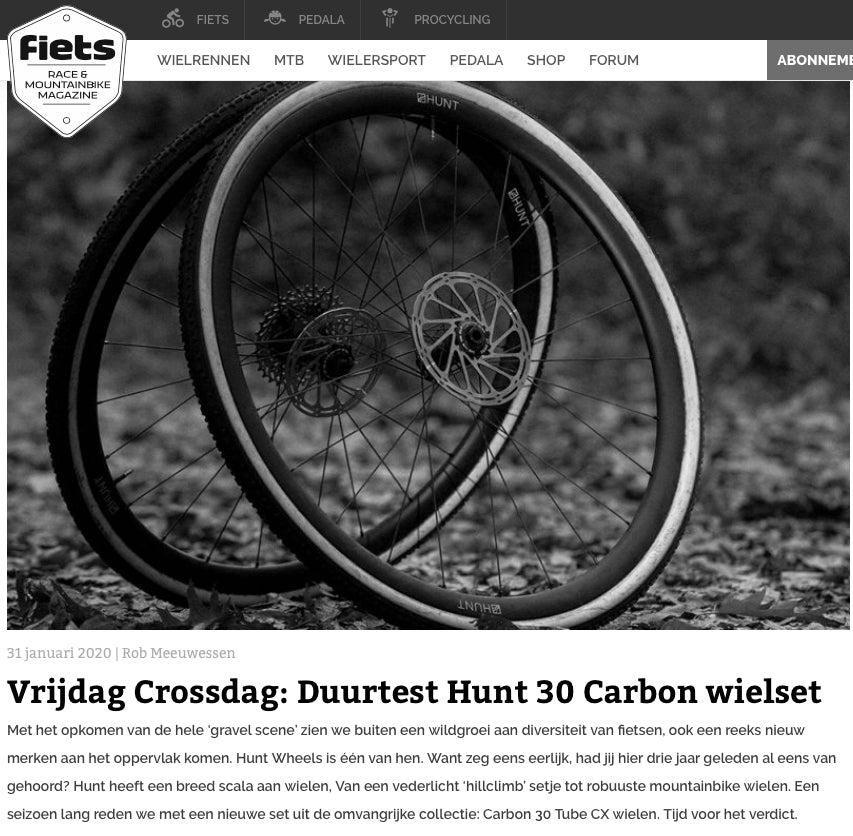 Fiets.nl HUNT 30 Carbon CX Tubulars Field Test Review