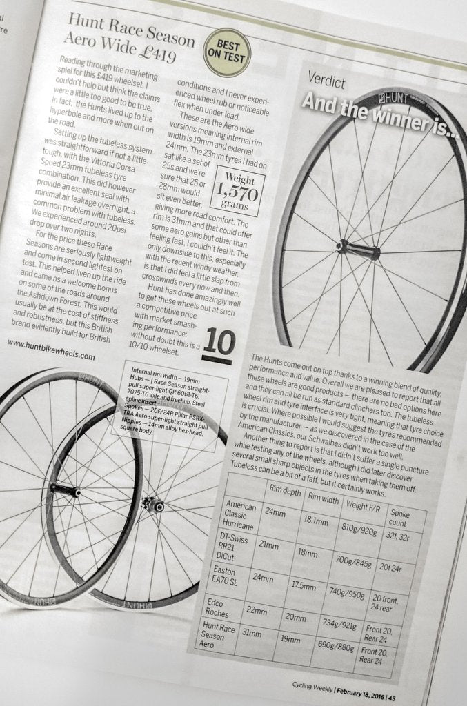 HUNT RACE AERO WIDE Road Wheelset Cycling Weekly Review